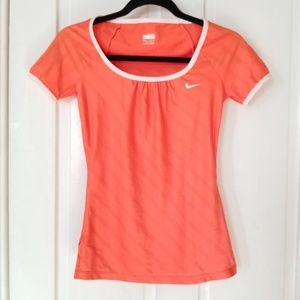 Nike Neon Orange Horizontal Stripe Athletic Top